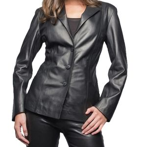 Vintage Leather Fitted Blazer 8